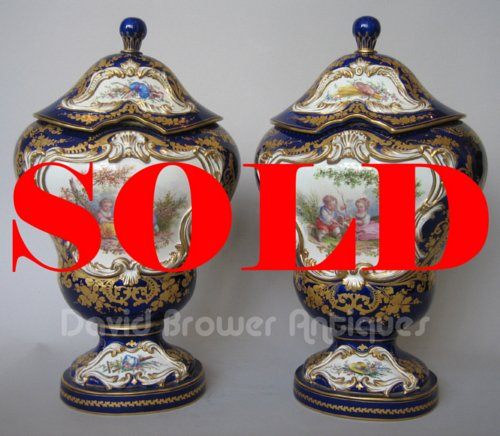 Pair of Sevres vases and covers