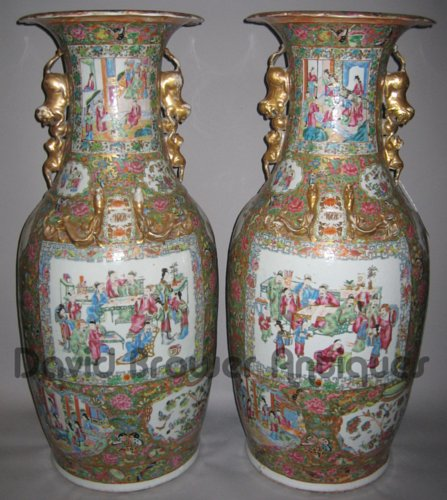Pair of large Canton vases