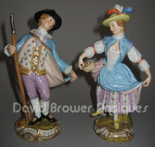 Pair of Meissen figures of a country gent and his wife