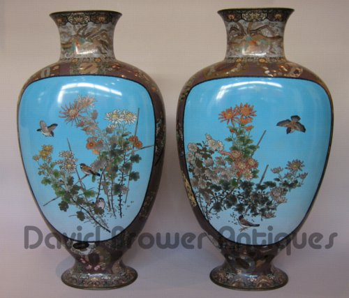 Pair of Japanese cloissone vases
