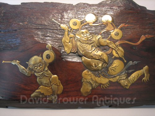 Japanese wooden pannel with fine lacquer decoration of  Oni