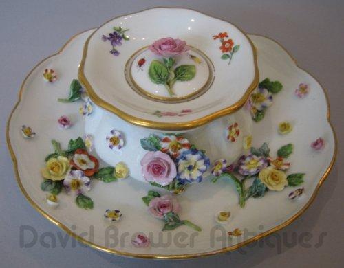 Meissen floral encrusted inkwell and stand