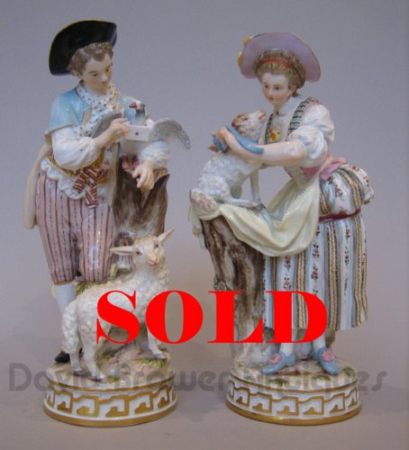 Pair of Meissen figures with sheep