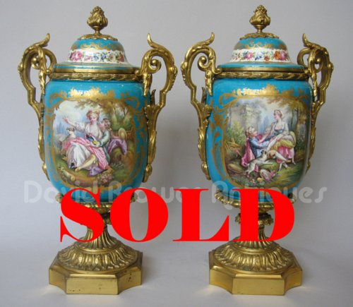 Pair Of Ormolu Mounted Sevres Vases At David Brower Antiques